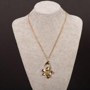 Goldtone Floral Pendant w/ Chain